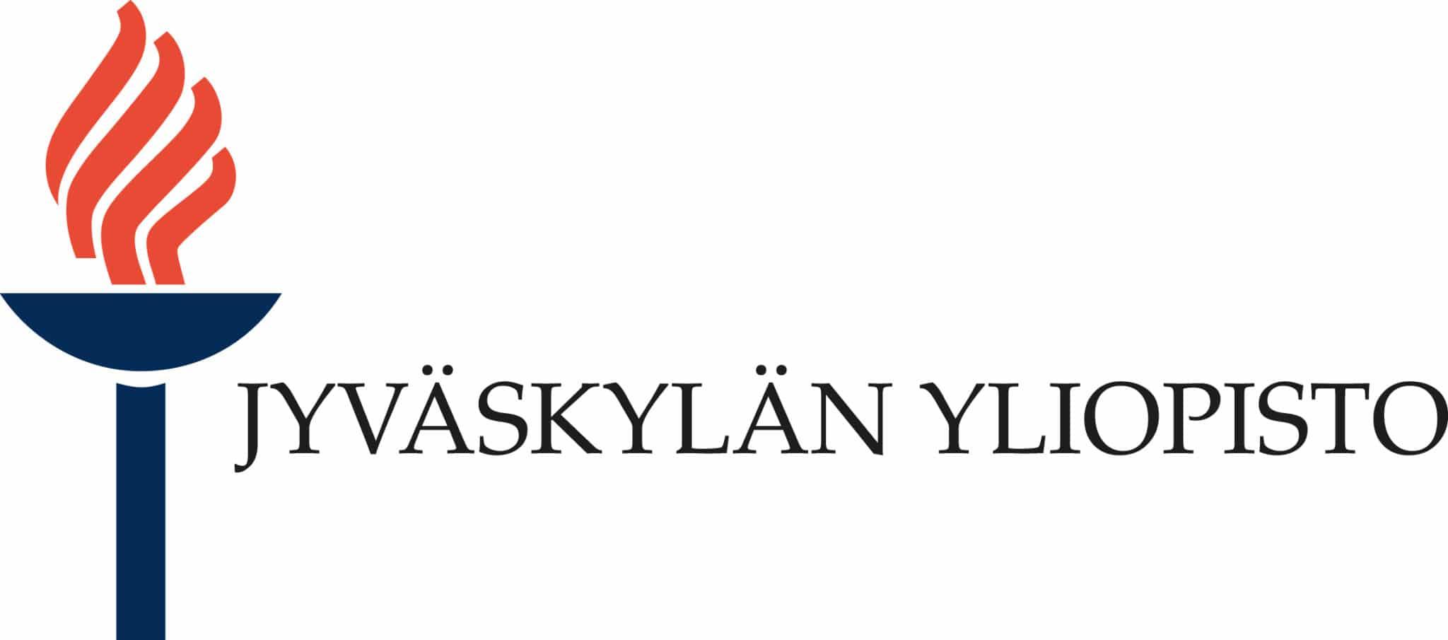 Jyväskylän yliopiston logo sini-oranssilla soihdulla ja suomenkielisellä tekstillä